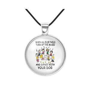 Peanuts Dance with Dog Snoopy Pendant Necklace
